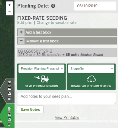 Seed Plan Screen